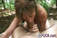 Horny granny getting her pussy slammed by a young stud