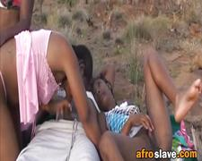 Couple of best friends from africa fuck in hard outdoor foursome