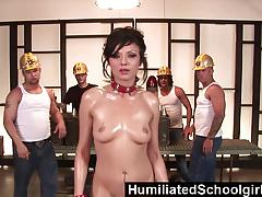 Sexy schoolgirl gets banged by group of hot dudes
