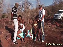 Outdoor african safari orgy fuck