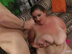 Fat girl with massive boobs gets drilled