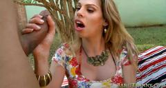 Massive boobs shemale gets her asshole banged outdoors