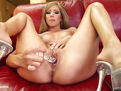 Blonde britney loves to pound her own pussy