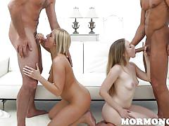 Two horny mormon couples, one jizzed couch