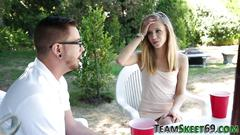 Teen creampied outside