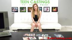 Hardfucked teen tastes warm cum at casting