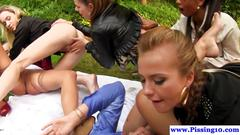 Lesbian pissing babes in group fingering