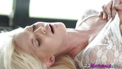 Blonde babe tugs cock
