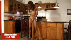 Black trans beauty sensual posing her body