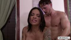 Sexy ass ts foxxy loves gets screwed by a muscular masseuse roman todd
