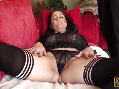 stockings, fingering, toy, sofa, bigboobs, masturbation, lingerie, heels, fakeboobs, sextoys, orgasm, british, pussyrubbing, manicure