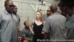Slut interracial cumshot