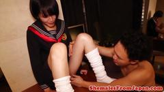 Asian shemale analfucked while jerking off