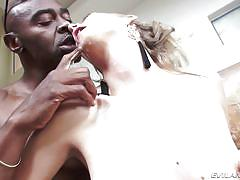 milf, blonde, black, interracial, bubble butt, deep throat, bbc, nipples sucking, bound hands, evil angel, sean michaels, mona wales