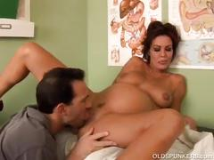 Super sexy pregnant old spunker sucks & fucks her doctor