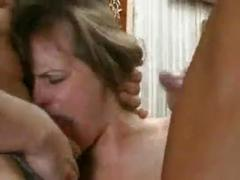Lady force fucked by two plumbers hard in the ass.