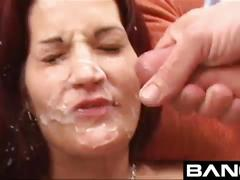 Amateur freaks getting cum facials