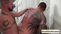 Muscular tattooed bears pounding ass