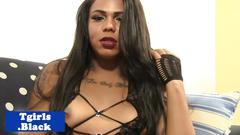 Black lingerie tgirl tugging her hard pole
