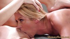 Bigtits stepmom licks sweet young pussy