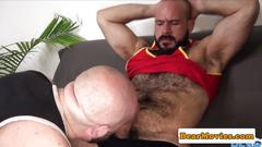 Bald chubby bear assfucked by hairy top