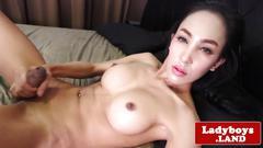 Bikini ladyboy with bigtits wanking cock