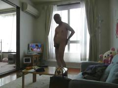 Japanese old man masturbation cock erection