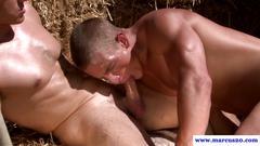 Muscular straight farmer tasting cock