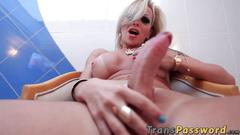 Blonde shemale caught wanking his big dick