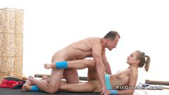Yoga coach stretches and fucks blonde
