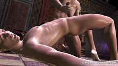 3d cartoon hunk gets a long handjob before getting fucked