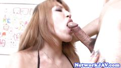 Pussyfucked japanese babe gagging on cock