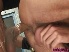 Busty shemale in fishnets gets assfucked