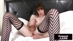 Femboy toying asshole with dildo