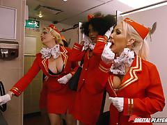 Pussyhole of flight attendant freddy fox banged balls deep