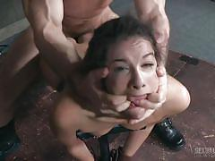 Master opens her lips, so another dude can fuck her face