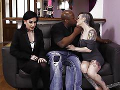 Tattooed hottie gets fucked by a gigantic black penis