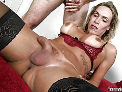 shemale, ladyboy, anal, blonde, cock sucking, big boobs, boobs groping, riding cock, from behind, with condom, tranny surprise, reality kings, paulo marks, camyli victoria