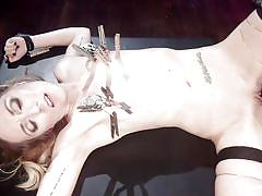 milf, blonde, femdom, domination, big boobs, vibrator, anal insertion, clothespins, nipple clamps, electro bdsm, electro sluts, kink, aiden starr, emma haize