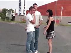 Petite teen girl is fucked on public street sex by 2 guys with big dicks