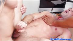 Office hunks assfucking in interracial trio