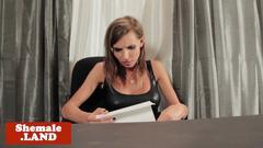 Busty tgirl jerking off ontop of desk