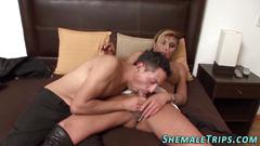 Kinky shemale mistress facesitting and fucking a slave boy