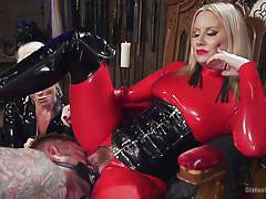 milf, threesome, femdom, bdsm, strapon, latex, spanking, mistress, mask, tattooed, divine bitches, kink, lorelei lee, maitresse madeline marlowe, tanner tatum