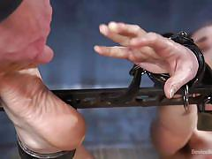 Feet torture for spanish submissive girl