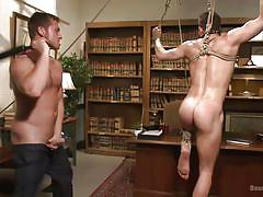 gays, rope bondage, suspended, bdsm, cock torture, ball gag, whipping, small cock, shibari, bound gods, kink men, connor maguire, drake tyler