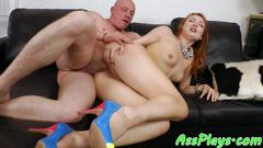 Euro redhead anally fucked on the couch