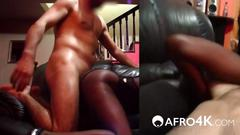 Curvy african chick pleasing white long dong