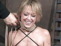 Tied blonde milf gets her big tits and pussy whipped