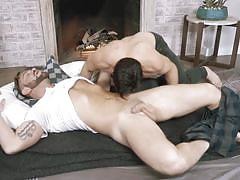 Bearded stud gets manhandled by his top